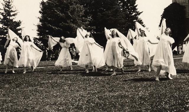 Dancing in white dresses